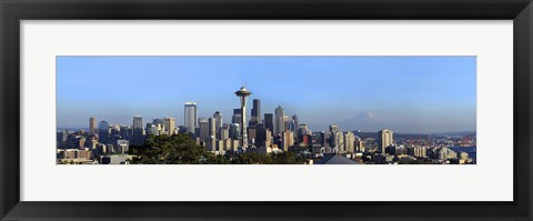 Framed Buildings in a city with mountains in the background, Space Needle, Mt Rainier, Seattle, King County, Washington State, USA 2010 Print