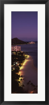Framed Buildings at the waterfront, Honolulu, Hawaii Print