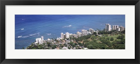 Framed Aerial view of a city at waterfront, Honolulu, Oahu, Honolulu County, Hawaii, USA 2010 Print