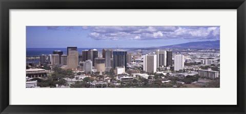 Framed High angle view of a city, Honolulu, Oahu, Honolulu County, Hawaii, USA 2010 Print