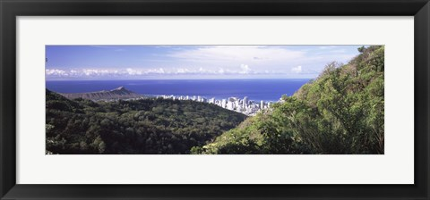 Framed Mountains with city at coast in the background, Honolulu, Oahu, Honolulu County, Hawaii, USA Print