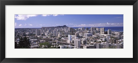 Framed High angle view of a city, Honolulu, Oahu, Honolulu County, Hawaii, USA Print