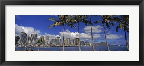 Framed Skyscrapers at the waterfront, Honolulu, Hawaii Print