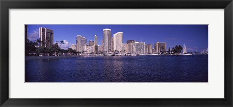 Framed Skyscrapers at the waterfront, Honolulu, Hawaii, USA Print