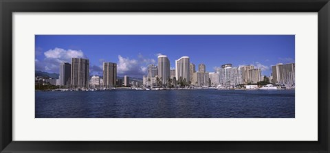 Framed Honolulu skyline, Hawaii Print