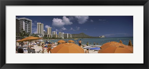 Framed Tourists on the beach, Waikiki Beach, Honolulu, Oahu, Hawaii, USA 2010 Print