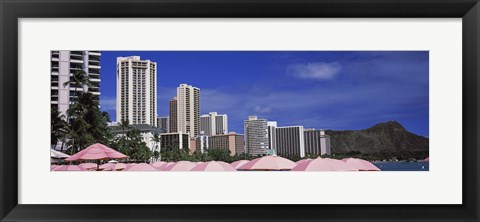 Framed Skyscrapers at the waterfront, Honolulu, Oahu, Hawaii, USA Print
