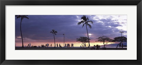 Framed Tourists on the beach, Honolulu, Oahu, Hawaii, USA Print
