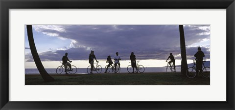 Framed Tourists cycling on the beach, Honolulu, Oahu, Hawaii, USA Print
