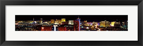 Framed High angle view of a city at night, Las Vegas, Clark County, Nevada, USA 2011 Print
