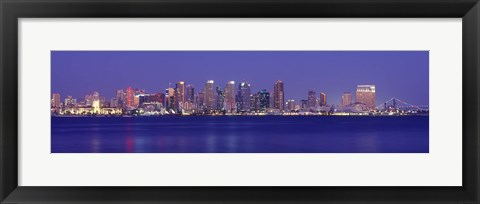 Framed San Diego in Bright Blue Print
