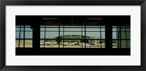 Framed Airport viewed from inside the terminal, Dallas Fort Worth International Airport, Dallas, Texas, USA Print
