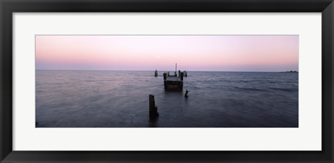 Framed Pier in the Atlantic Ocean, Dilapidated Pier, North Point State Park, Edgemere, Baltimore County, Maryland, USA Print