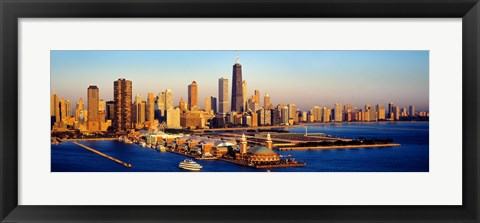 Framed Aerial view of a city, Navy Pier, Lake Michigan, Chicago, Cook County, Illinois, USA Print