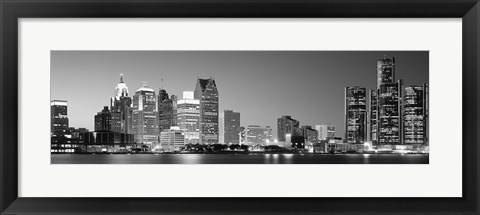 Framed City at the waterfront, Lake Erie, Detroit, Wayne County, Michigan, USA Print