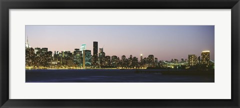 Framed New York Skyline from a Distance (gray sky) Print