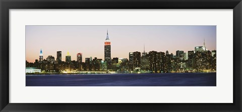 Framed New York City Skyline Lit Up at Night Print