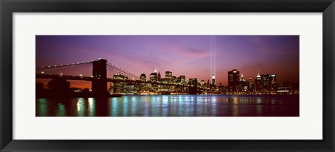 Framed Skyscrapers lit up at night, World Trade Center, Lower Manhattan, Manhattan, New York City, New York State, USA Print