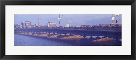 Framed Bridge across a river, Longfellow Bridge, Charles River, Boston, Suffolk County, Massachusetts, USA Print