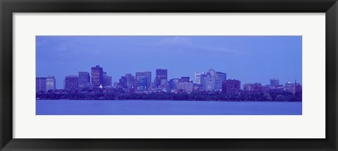 Framed Skyscrapers at the waterfront, Charles River, Boston, Suffolk County, Massachusetts, USA Print