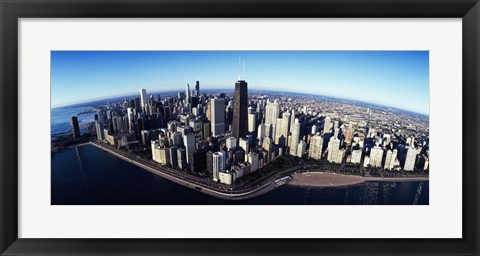 Framed Skyscrapers in a city, Lake Shore Drive, Hancock Building, Chicago, Cook County, Illinois, USA 2011 Print