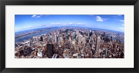 Framed Aerial View of Manhattan Skyscrapers, 2011 Print