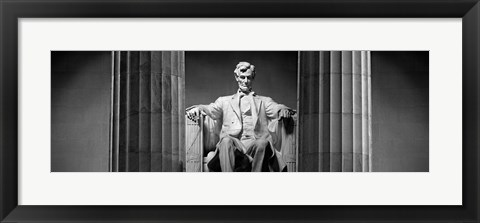 Framed Statue of Abraham Lincoln in a memorial, Lincoln Memorial, Washington DC Print