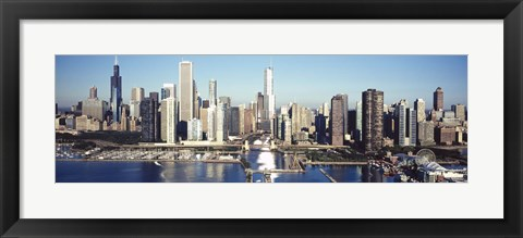 Framed Skyscrapers in a city, Navy Pier, Chicago Harbor, Chicago, Cook County, Illinois, USA 2011 Print