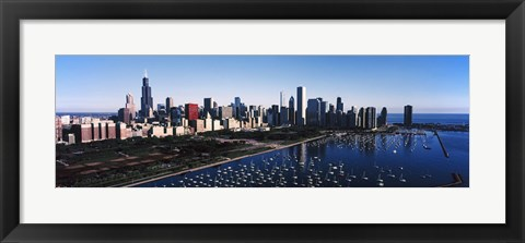 Framed Skyscrapers at the waterfront, Chicago Harbor, Lake Michigan, Chicago, Cook County, Illinois, USA 2011 Print