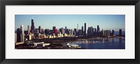Framed Skyscrapers at the waterfront, Hancock Building, Lake Michigan, Chicago, Cook County, Illinois, USA Print