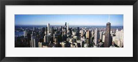 Framed Skyscrapers in a city, Hancock Building, Lake Michigan, Chicago, Cook County, Illinois, USA 2011 Print