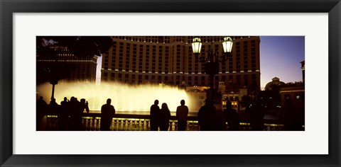 Framed Tourists looking at a fountain, Las Vegas, Clark County, Nevada, USA Print