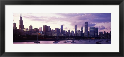 Framed Buildings at the Waterfront, Lake Michigan, Chicago (purple) Print