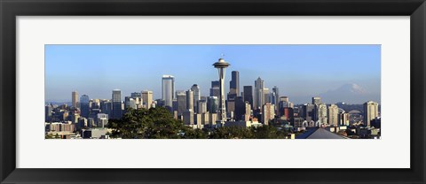 Framed Seattle city skyline and downtown financial building, King County, Washington State, USA 2010 Print