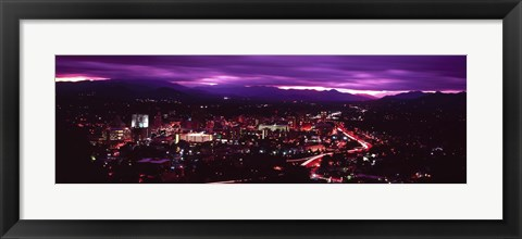 Framed Aerial view of a city lit up at night, Asheville, Buncombe County, North Carolina, USA 2011 Print