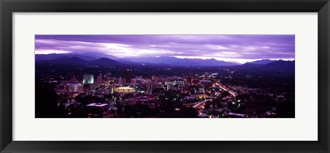 Framed Aerial view of a city lit up at dusk, Asheville, Buncombe County, North Carolina, USA 2011 Print