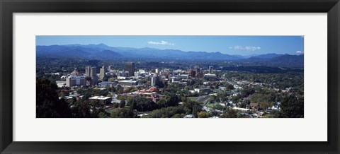 Framed Aerial view of a city, Asheville, Buncombe County, North Carolina, USA Print