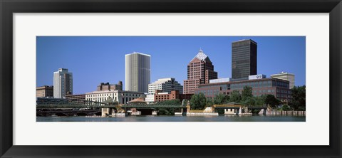 Framed Buildings at the waterfront, Genesee River, Rochester, Monroe County, New York State Print