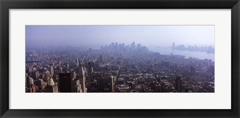 Framed Hazy view of Manhattan Print