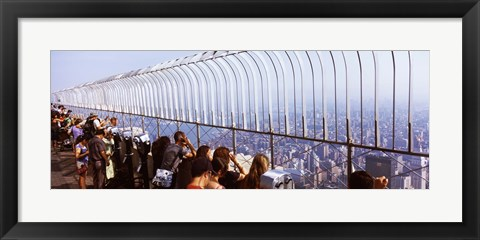 Framed Tourists at an observation point, Empire State Building, Manhattan, New York City, New York State, USA Print