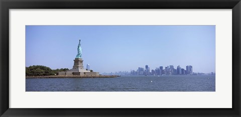 Framed Statue Of Liberty with Manhattan skyline in the background, Liberty Island, New York City, New York State, USA 2011 Print