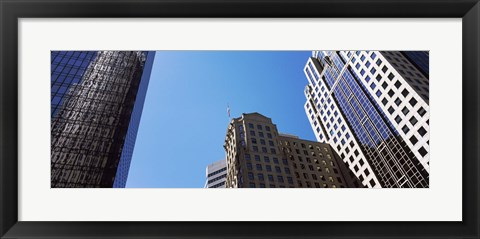 Framed Low angle view of skyscrapers in a city, Charlotte, Mecklenburg County, North Carolina, USA 2011 Print