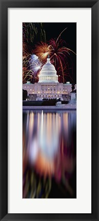 Framed Firework display over a government building at night, Capitol Building, Capitol Hill, Washington DC, USA Print
