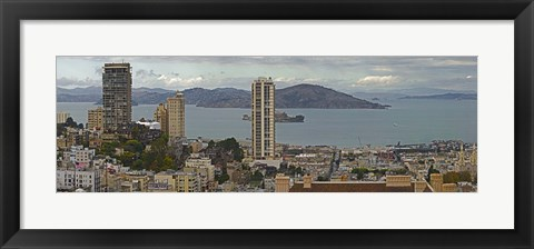 Framed Buildings in a city with Alcatraz Island in San Francisco Bay, San Francisco, California, USA Print