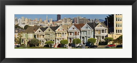 Framed Famous row of Victorian Houses called Painted Ladies, San Francisco, California, USA 2011 Print