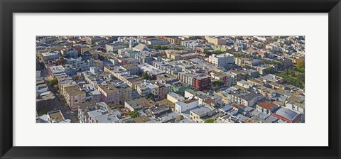 Framed Aerial view of colorful houses near Washington Square and Columbus Avenue, San Francisco, California, USA Print