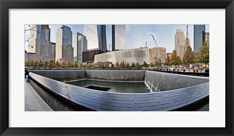 Framed 911 Memorial along side the South Tower Footprint Memorial, New York City, New York State, USA 2011 Print