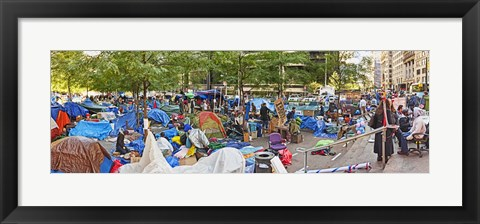 Framed Occupy Wall Street at Zuccotti Park, Lower Manhattan, Manhattan, New York City, New York State, USA Print