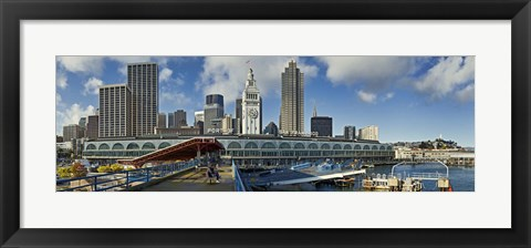 Framed Ferry terminal with skyline at port, Ferry Building, The Embarcadero, San Francisco, California, USA 2011 Print