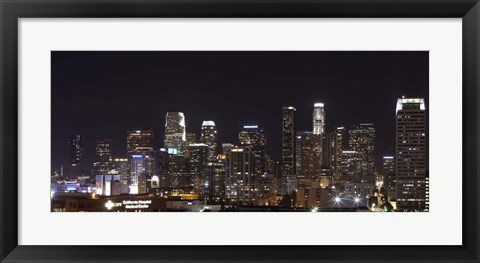 Framed Buildings lit up at night, Los Angeles, California, USA 2011 Print